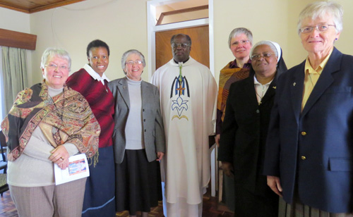 Sister Pru Cooper, Sister Eva-Maria Thupatsogong, Sister Paula-Mary Van der Walt (congregational prioress), Sister Anna-Lucia Wannemacher, Sister Bernadette Zulu, and Sister Celia Smit (congregational councillor of South Africa)