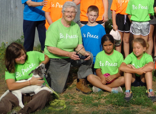 Above: Sister Marilyn Pierson, OP, with campers and staff.