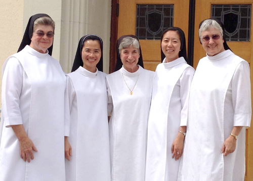 From left:  Sister Patricia Ann Smith, formation director; Sister Mary-Han Nguyen, Sister Gloria Marie Jones, S. Mary Yun, Sister Pauline Bouton, formation director.