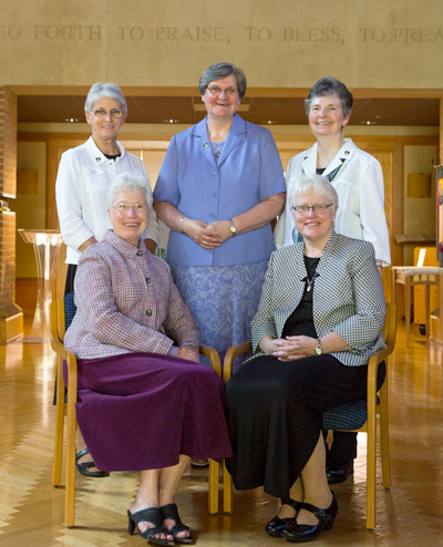 Back row from left: Sisters Gene Poore, Anne Lythgoe and Therese Leckert. Front row from left:  Sisters Gemma Doll and Pat Twohill, prioress.