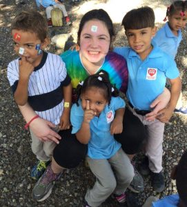 uring recess, students in the pre-K classes show off their stickers for a photo with their new friend Jeanne Lassere.