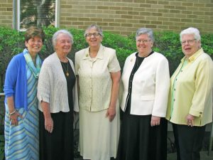 Left to Right: Sr. Irene Ellis, Sr. Eileen Gannon, Sr. Mary Murray (President), Sr. Margaret Palliser and Sr. Grace Hogan