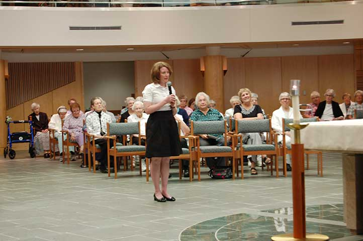 Katherine Frazier declares her desire to be received as an Adrian Dominican novice.