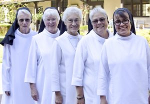 From left to right: Sister Mary Liam Brock, Sister Diane Bridenbecker, Sister Cecilia Canales, Sister Mary Suzanna Vasquez and from Mexico Hermana Verónica Esparza Ramírez was selected for leadership.