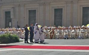 Representatives of the Missionaries of Charity, founded by Mother Teresa, take part in her canonization.