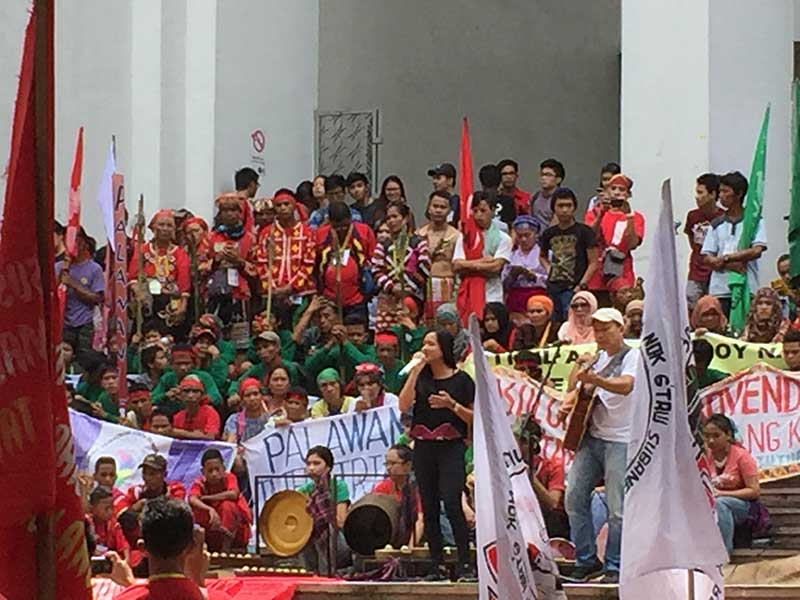 Tribal leaders of the indigenous peoples of the Philippines gather at Palma Hall, the University of the Philippines, to make known their plight.