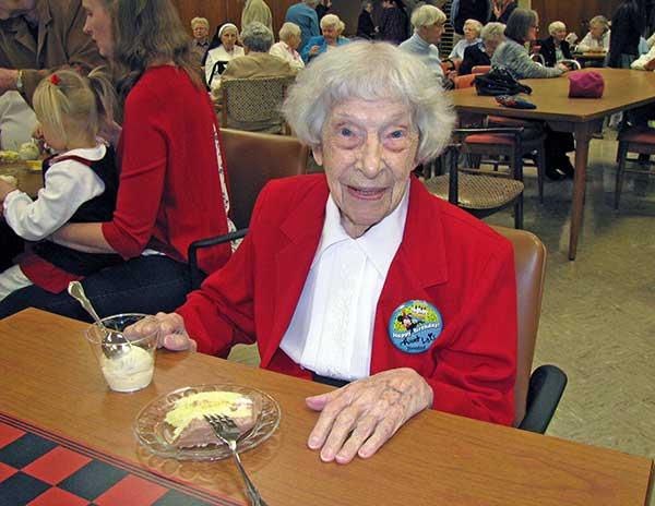 Dominican Sister of Sparkill Sr. Lois Liekweg enjoys the festivities on her 100th birthday, December 6, 2016.